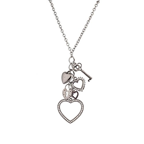 Lux Accessories Long Chain Necklace with Dangle Valentine Heart Key Lock Charms