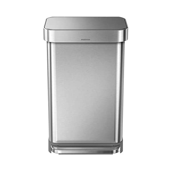 simplehuman 45 Liter Rectangular Hands-Free Kitchen Step Trash Can with Soft-Close Lid, Brushed Stainless Steel 1