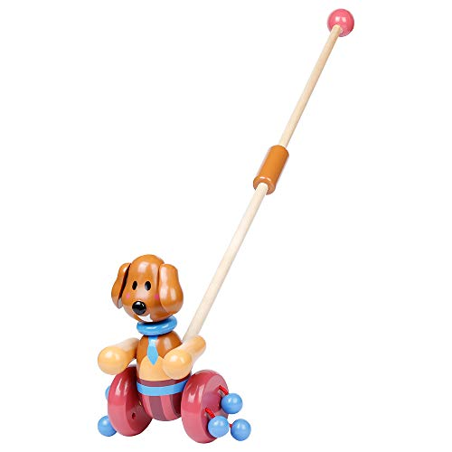 RUYU Loyal Puppy Wooden Push-n-Pull Activity Walking Toy with Colorful Rolling Beads for Toddlers and Babies Girl or Boy, Classic Early Learning Wooden Balance Walking Play Toy (❤Puppy❤)