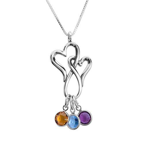Loving Family Interlocking Heart Birthstone Charm Necklace 3 Charms