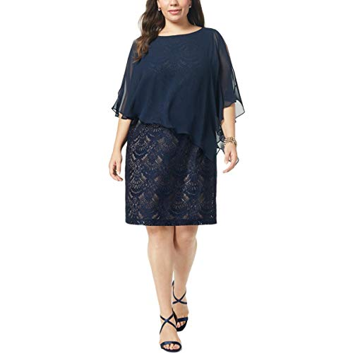 Connected Apparel Womens Plus Chiffon Lace Overlay Cocktail Dress Navy 14W