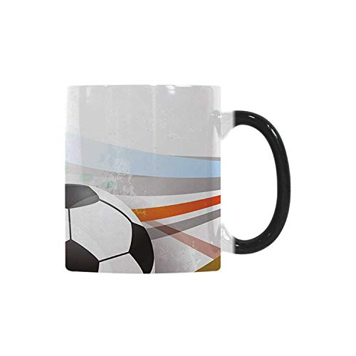 Teen Room Decor Utility Morphing Mug,Soccer Background with Football Colorful Lines Sports Game Digital Display Decorative for Home,10.3OZ