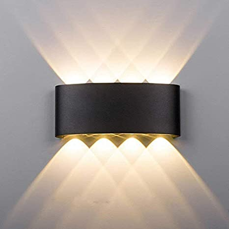 brand new 601a5 d176c Maxmer 8W Modern LED Wall Light Sconce IP68 Waterproof Wall Lighting Indoor  Outdoor Double Up Down Wall Light, Warm White