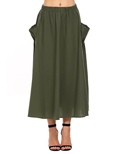 Zeagoo Women's Cotton Linen A-Line Flare Pleated Maxi Skirt With Pockets(Olive (Green Linen Skirt)