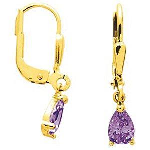 So Chic Bijoux © Boucles d'oreilles Femme Dormeuses Goutte Améthyste Violet 5 mm Or Jaune 750/000 (18 carats)