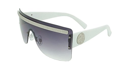 Georgio Caponi Rimless Greek Key Flat Top Shield Sunglasses (White & Silver, - Sunglasses White K
