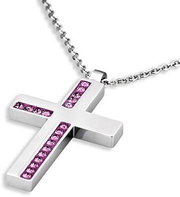 Lotus Collar LS1362/1/2–Collar para mujer cruz Acero inoxidable Cristal Piedra brillantes lila 46cm