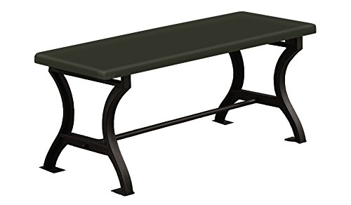 """Universal Bench Wood and Metal 18"""" Tall with a Padded Seat Cushion Featuring Your Choice of a Colored Vinyl Seat Cushion (Black)"""