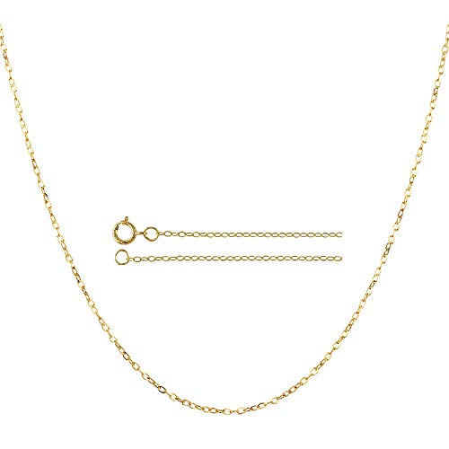 10K Yellow Gold 0.8MM Diamond Cut Cable Link Chain Necklace -Made in Italy-Choose your Size & Color (Yellow, 22)