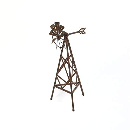 Gerson 14.5 Inch High Metal Windmill Decorative Accessory in Antique Rust Finish, Farmhouse Inspired Metal Decor (Metal Windmill)
