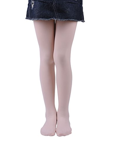 (Girls Tights, Semi Opaque Footed Tights, Microfiber Comfortable Tights, Dance Tights (2-4, Pink))