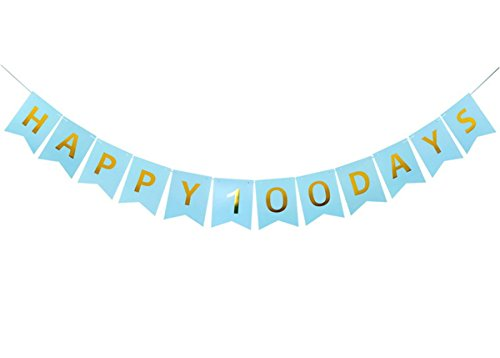 Happy 100 Days Bunting Banner with Shiny Letters for Baby Shower, Wedding Party Decorations, Blue