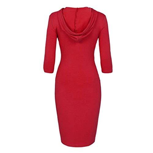 Robe Robes 3 Pullover Capuche 4 Latrales Fille Femme Vintage Casual Fashion Robe Capuchon Rouge Vtements Sweat Bustier lgant Manches Unicolore Poches qzWSx