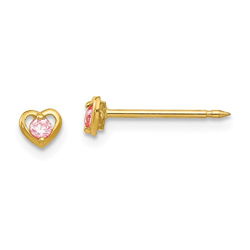 ICE CARATS 14kt Yellow Gold Heart Pink Cubic Zirconia Cz Post Stud Earrings Tool Ear Piercing Supply Love Fine Jewelry Ideal Gifts For Women Gift Set From Heart -