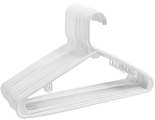 ZOYER Plastic Hangers (60 Pack) Standard Long Lasting Tubular Hangers with Bar Hooks - White (Plastic Hangers 60)