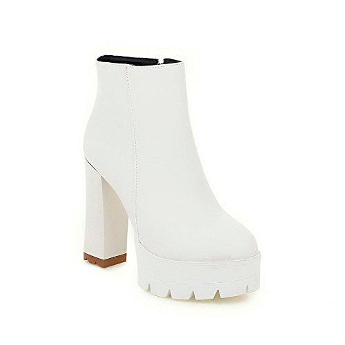 Allhqfashion Femmes Hauts Talons Solides Ronds Bout Fermé Chaussures En Matériau Souple Bottes Blanc