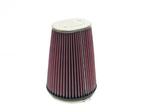 K&N RF-1021 Universal Clamp-On Air Filter: Oval Straight; 4.5 in (114 mm) Flange ID; 8 in (203 mm) Height; 5.87 in (149 mm) Base; 4.5 in x 3.25 in (114 mm x 83 mm) Top