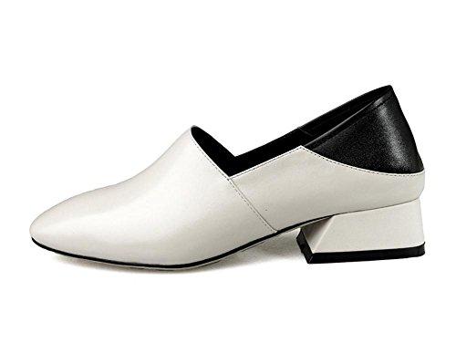 Hecho Ponerse Cuero Comodidad Negro Mano Blanco Mujer Perezoso Tacón Trabajo A Soltero Zapatos Caminar Para Bajo Áspero Casual Fornido fdSxqwPO