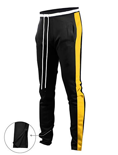 SCREENSHOTBRAND-S41700 Mens Hip Hop Premium Slim Fit Track Pants - Athletic Jogger Bottom with Side Taping-BK/GD-Small by SCREENSHOT