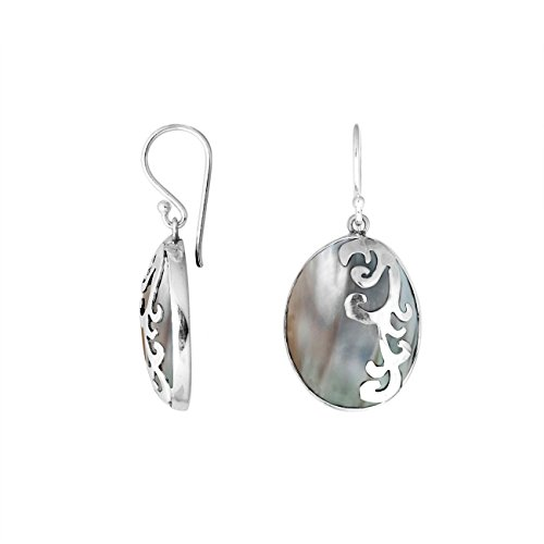 (Sterling Silver Oval Shape Earring With Shell AE-1076-SH)