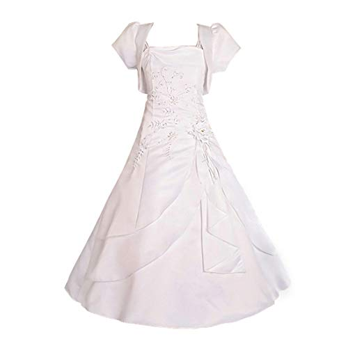 Dressy Daisy Girls' Beading Satin Occasion Communion Dresses Wedding Flower Girl Dress with Bolero Size 11-12 White
