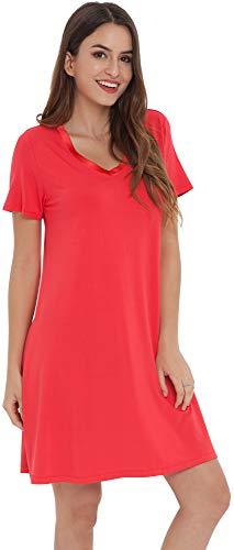 NEIWAI Women's Nightgowns Bamboo Sleep Shirt Short Lounge Dress Red 2X