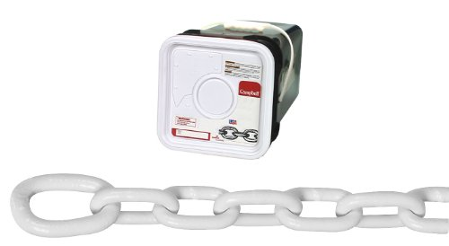 Campbell 0200356 System 3 Grade 30 Low Carbon Steel Proof Coil Anchor Lead Chain in Square Pail, Galvanized with Polycoated, 5/16'' Trade, 0.31'' Diameter, White, 75' Length, 1900 lbs Load Capacity by Apex Tool Group