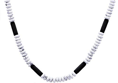 Blackjack Jewelry Mens Stainless Steel Genuine Gemstone Beaded Necklace (black-plated-stainless-steel, howlite) (Genuine Mlb Necklace)