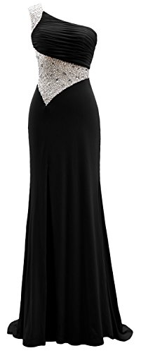 Gown Long Black One Jersey Evening Shoulder Dress Sheath Macloth Prom Formal zfwqvC