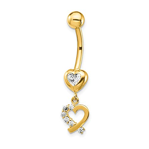 14k Yellow Gold Cubic Zirconia Cz 2 Hearts Dangle Belly Band Ring Body Naval Fine Jewelry Gifts For Women For Her ()