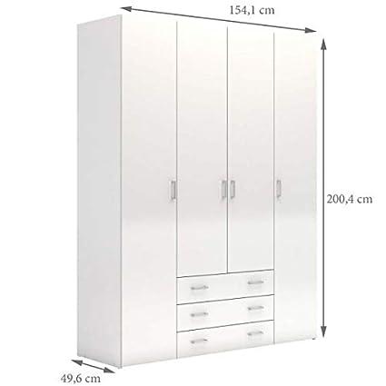 Esidra, Armadio 4 Ante e 3 cassetti, 154x50x200cm: Amazon.it: Casa e ...
