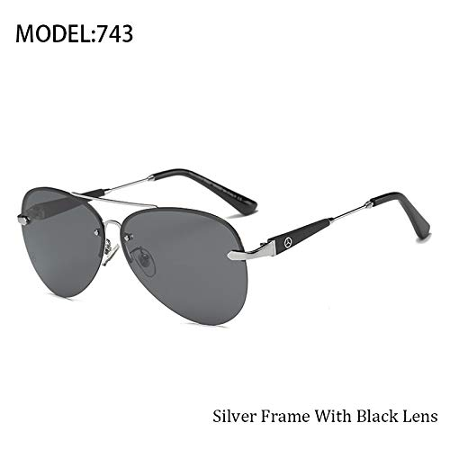Polarized Drivers Jewelry (JEGOAU Summer Frameless Unique Men's Fashion Polarized Sunglasses Driver Drove uv Obviously Dress up (Silver Gray Sheet)