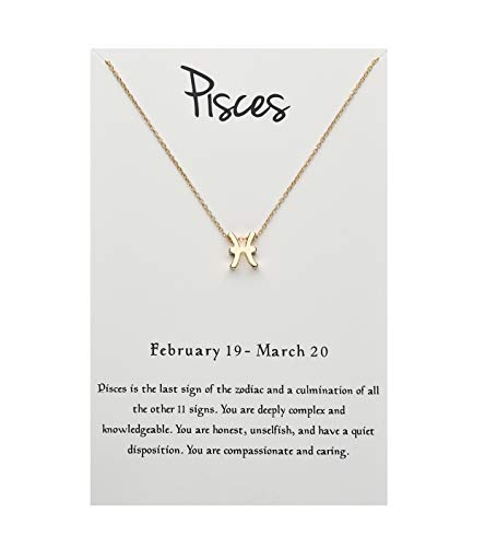 ForeveRing Z Message Card 12 Constellations Necklace Pisces Charm Necklace 12 Zodiac Sign Tag Pendant Birthday Gifts Woman Jewelry