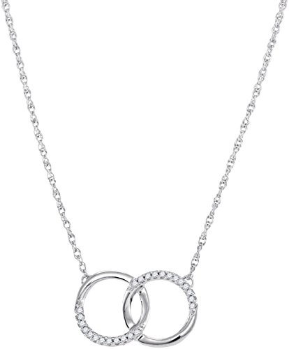10kt White Gold Womens Round Diamond Interlocking Double Circle Pendant Necklace 1/10 Cttw -