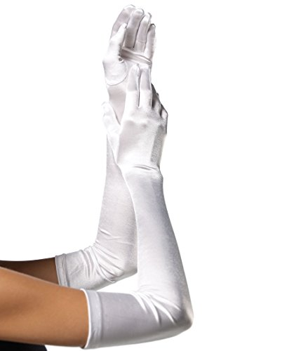 [Extra Long Satin Gloves Adult Costume Accessory White - One Size] (Extra Long Satin Fuchsia Gloves)