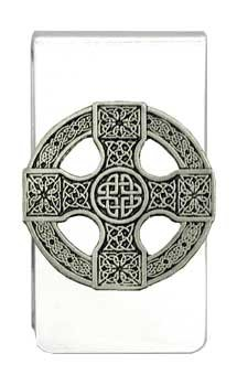 'Celtic Cross Shield' Pewter Charm Silver Tone Money Clip