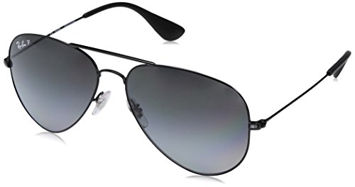 Gradient Ray Ban Aviator (Ray-Ban Unisex RB3558 002/T3 Polarized Sunglasses, Black/Grey Gradient, 58 mm)