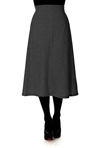 Elastic Waist A-line Flared Long Skirt (L, Charcoal) (Flare Tweed Skirt)