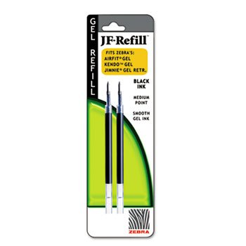 Zebra Retractable Gel-Ink Ballpoint Refills for Sarasa & Jimnie Pens, Medium Point, 0.7 mm, Black, Pack of 2