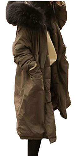 Trench Casual Jacket EKU Parkas Coat Green Long Hoodie Army Overcoat Women's Winter 1wFqAaO