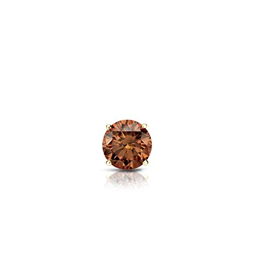 18k Yellow Gold 4-Prong Basket Round Brown Diamond SINGLE STUD Earring (1/8 ct, Brown, SI1-SI2)
