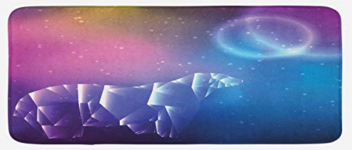 Ambesonne Polar Bear Kitchen Mat, Low Poly Style Crystal Polar Bear on Space Background with Stars and Planets, Plush Decorative Kithcen Mat with Non Slip Backing, 47 W X 19 L Inches, Multicolor