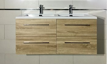 Meuble Double Vasque 120cm Jupiter 20 Bois Clair Sans Miroir