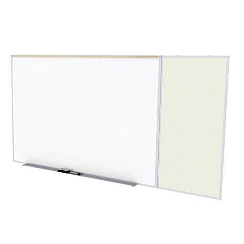 Ghent Style C 4 x 16 Feet Combination Board, Porcelain Magnetic Whiteboard and Vinyl Fabric Bulletin Board, Ivory , Made in the USA by Ghent