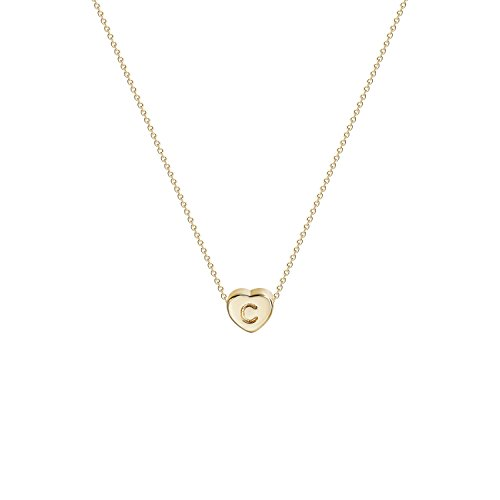 Tiny Gold Initial Heart Necklace-14K Gold Filled Handmade Dainty Personalized Heart Choker Necklace for Women Letter C from Fettero