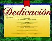 Certificado de Dedicacion: Certificate of Dedication