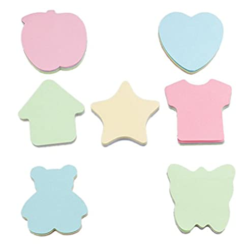 NUOLUX 7PCS Cute DIY Memo Sticky Notepaper Cartoon Shaped Sticker Office School Supplies - Star Shaped Sticky Notes