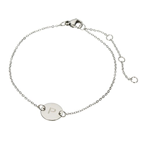 (HUAN XUN Stainless Steel Personalized Initial Bracelet Letter P)