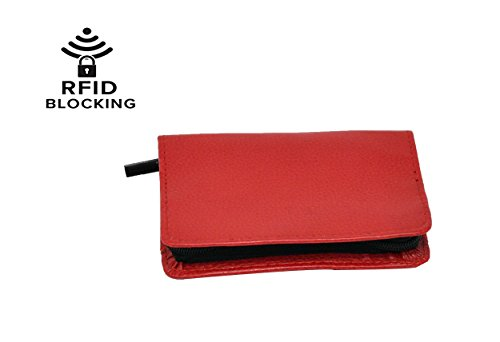 RFID Bifold Zippered Credit Cart Wallet | Red - by Home-X