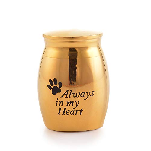 (Sunling in My Heart Paws Engraved Small Stainless Steel Decorative Memorial Keepsake Cremation Urns Jar for Human Pet Ashes Funeral Bottle Holder for Grandma,Grandpa,18k Gold,Waterproof)